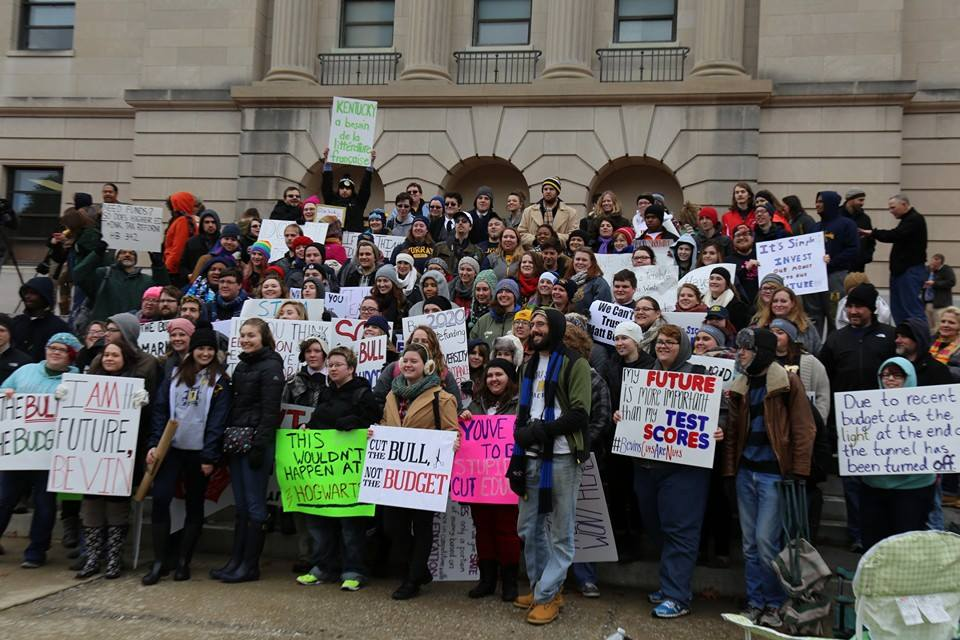 Kentucky State University and Morehead State University students and supporters march to the Kentucky capitol building in Frankfort, Kentucky to protest cuts to higher education funding proposed under Kentucky Governor Matt Bevin.